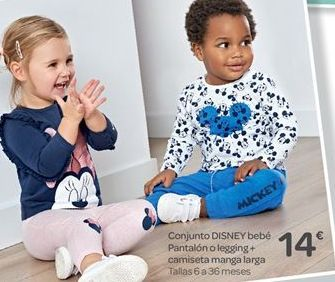 Oferta de Conjunto disney bebé pantalón o legging + camiseta manga larga por 14€