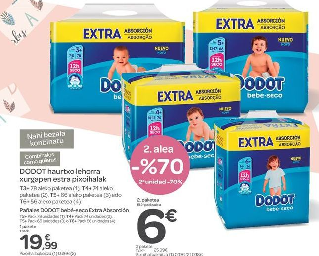 Oferta de Pañales Dodot, bebé-seco Extra Absorción por 19.99€