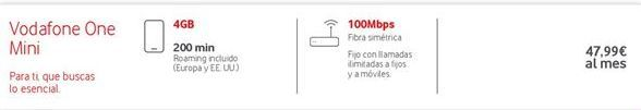 Oferta de Tarifas Vodafone por 47.99€