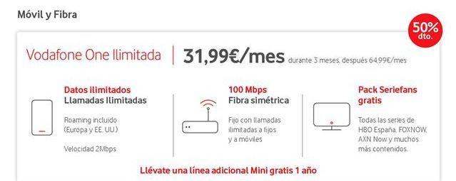 Oferta de Tarifas Vodafone por 31.99€