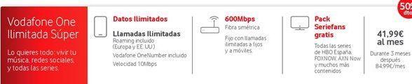 Oferta de Tarifas Vodafone por 41.99€