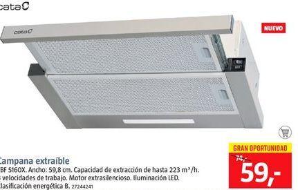 Oferta de Campana extractora extraible por 59€