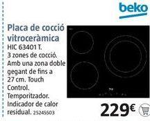 Oferta de Placa de inducción Beko por 229€