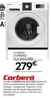 Oferta de Lavadora carga superior Corberó por 279€