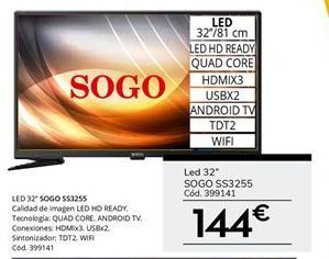 Oferta de Tv led Sogo por 144€