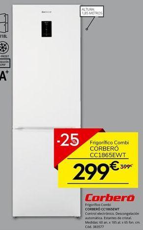 Oferta de Frigorífico combi Corberó por 299.25€