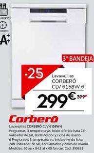 Oferta de Lavavajillas Corberó por 299.25€