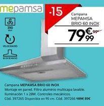 Oferta de Campanas extractoras Mepamsa por 99€