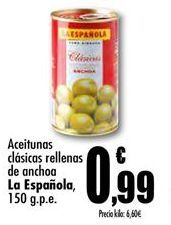 Oferta de Aceitunas clasicas rellenas de anchoa La Española por 0.99€