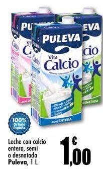 Oferta de Leche con calcio entera, semi o desnatada Puleva por 1€