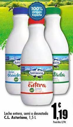 Oferta de Leche entera, semi o desnatada  Central Lechera Asturiana por 1.19€