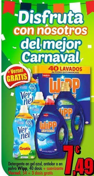 Oferta de Detergente gel WiPP Express + suavizante VERNEL por 7.49€