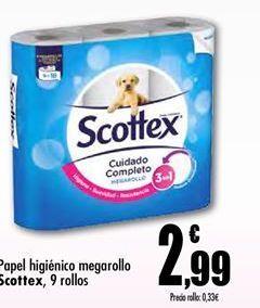 Oferta de Papel higiénico megarollo Scottex por 2.99€