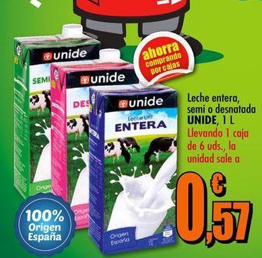 Oferta de Leche entera, semi o desnatada UNIDE 1L por 0.57€