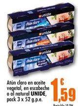 Oferta de Atún claro en aceite vegetal, en escabeche o al natural Unide por 1.59€
