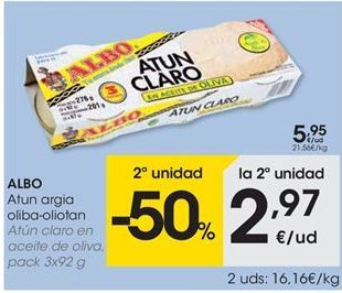 Oferta de ALBO Atún claro en aceite de oliva por 5.95€