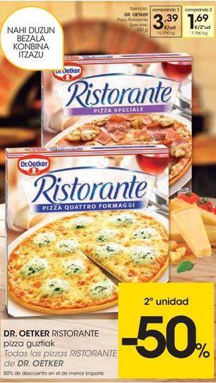 Oferta de Todas las pizzas RISTORANTE de DR. Oetker por 3.39€