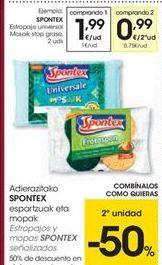 Oferta de Estropajos y mopas Spontex señalizados por 1.99€