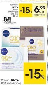 Oferta de Cremas Nivea Q10 señalizadas por 6.93€