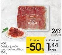 Oferta de NOEL Delizias jamón serrano sin aditivos por 2.89€
