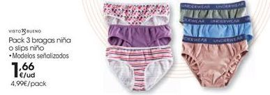 Oferta de Pack 3 bragas niña o slip niño  por 1.66€