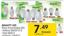 Oferta de QUALITY LED pack 4 bombillas LED por 7.49€