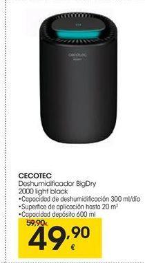 Oferta de CECOTEC deshumidificador BigDry 2000 light black por 49.9€