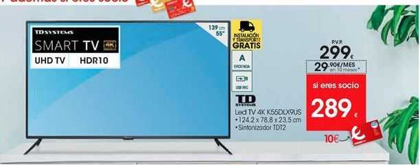 Oferta de Td systems Led TV 4K K55DLX9US por 299€