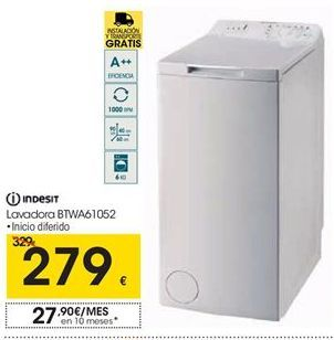 Oferta de  Indesit lavadoras BTWA61052 por 279€