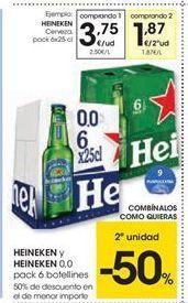 Oferta de Heineken y heineken 0.0 por 3.75€
