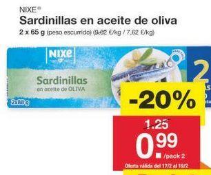 Oferta de Sardinas en aceite nixe por 1€