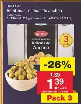 Oferta de Aceitunas rellenas de anchoa Baresa por 1.4€
