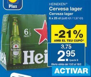 Oferta de Cerveza Heineken por 2.96€