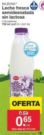 Oferta de Leche sin lactosa Milbona por 0.69€