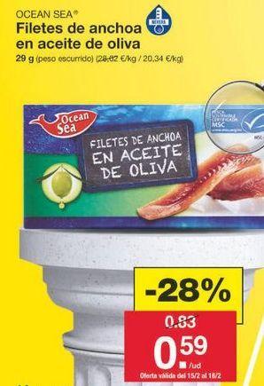 Oferta de Filetes de anchoa ocean sea por 0.6€
