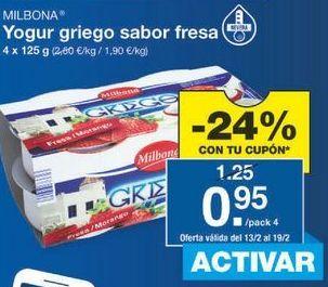 Oferta de Yogur griego Milbona por 0.95€