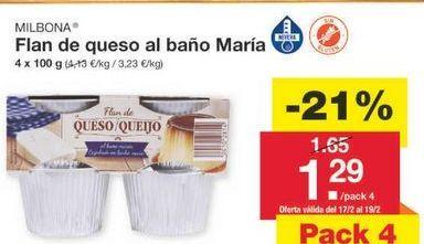 Oferta de Flan de queso Milbona por 1.3€