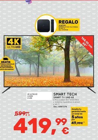 Oferta de Smart TV UHD 65 por 419.99鈧�