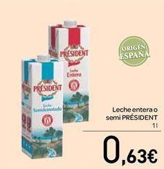 Oferta de Leche entera o semidesnatada por 0.63€