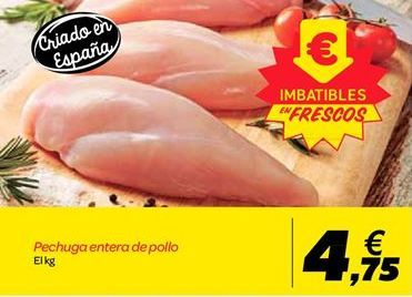 Oferta de Pechuga entera de pollo por 4.75€