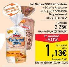 Oferta de Pan natural 100% sin corteza, artesano o artesano toque de miel  por 2.25€