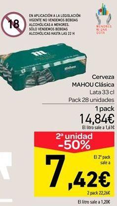 Oferta de Cerveza Mahou clásica  por 14.84€