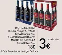 Oferta de Caja de 6 botellas D.O.Ca. Rioja Antaño tinto Crianza o D.O. Ribera del Duero Mayor de Castilla Tinto Roble por 18€