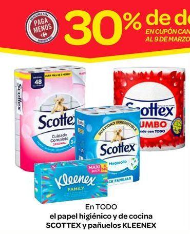Oferta de Papel higiénico y de cocina Scottex y pañuelos Kleenex por