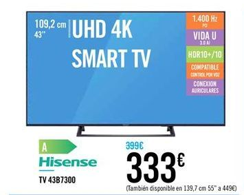 Oferta de Smart tv Hisense por 333€