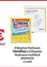 Oferta de 9 bayetas multiusos Carrefour o 3 bayetas multiusos multifácil Spontex por 1€