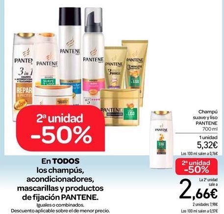 Oferta de En TODOS los champús, acondicionadores, mascarillas y productos de fijación PANTENE por 5.32€