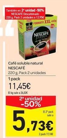Oferta de Café soluble natural NESCAFÉ por 11.45€