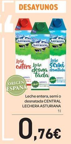 Oferta de Leche entera, semi o desnatada CENTRAL LECHERA ASTURIANA  por 0.76€
