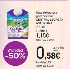 Oferta de Nata sin lactosa para cocinar CENTRAL LECHERA ASTURIANA por 1.15€